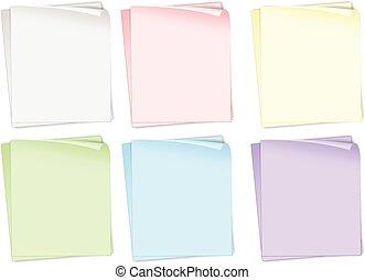 différent, couleurs, papiers