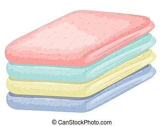 différent, couleurs, serviettes, pile