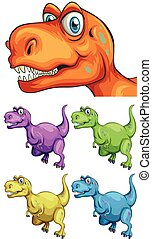 différent, couleurs, t-rex