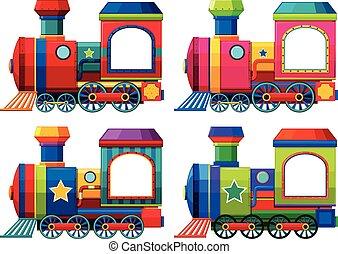 différent, couleurs, trains