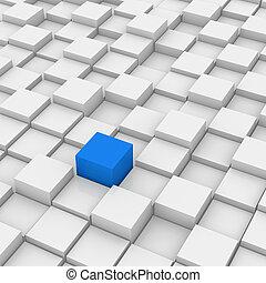 différent, cube, rouges