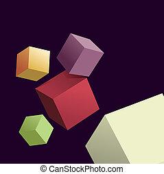 différent, cubes, résumé, couleurs, fond, 3d