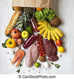 différent, cuisine, achats, arrière-plan., sommet bois, vert, sain, overhead., cru, végétariens, sac papier, nourriture, concept., vue, frais, blanc, fruits, table., viande