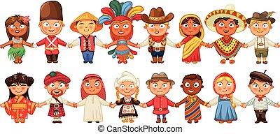 différent, culture, debout, ensemble