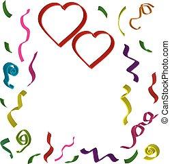 différent, d, 3, deux, couleurs, fond, confetti, cœurs, ...