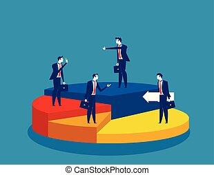 différent, debout, vecteur, directions, business, illustration., gens, tarte, concept, chart.