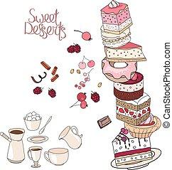 différent, desserts, tasse, plaque, restaurant, doux, menu., isolé, arrière-plan., objets, patisserie, blanc, café, plat, gâteaux