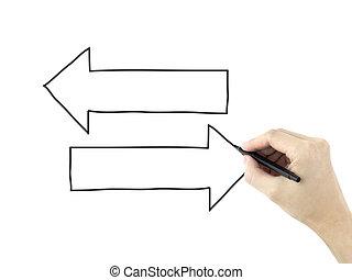 différent, directions, dessiné, par, main homme