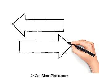 différent, directions, main, dessiné, 3d