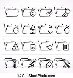 différent, dossier, espèce, icônes