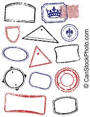 différent, dresser, railler, stamps.