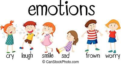 différent, enfants, exprimer, émotions