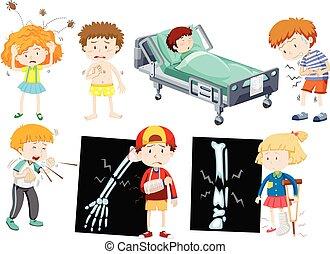 différent, enfants, maladie