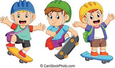 différent, enfants, patin, poser, planche, jouer