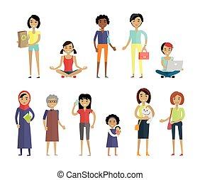 différent, ensemble, âges, isolé, races, femmes