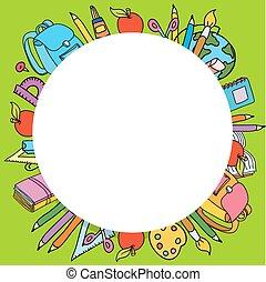 différent, ensemble, école, choses, seamless, vecteur, modèle, cercle