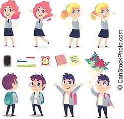 différent, ensemble, élèves, école, émotions, deux, quatre, fournitures