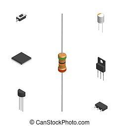 différent, ensemble, électronique, illustration., vecteur, composants, 3d
