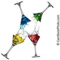 différent, ensemble, alcoolique, -, cocktails, martini