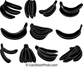 différent, ensemble, bananes