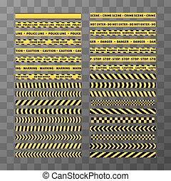 différent, ensemble, bandes, seamless, jaune, arrière-plan noir, prudence, transparent