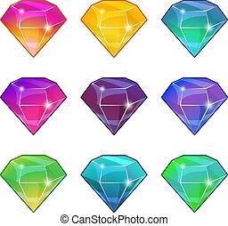 différent, ensemble, brillant, jeu, vecteur, conception, colors., diamants, dessin animé