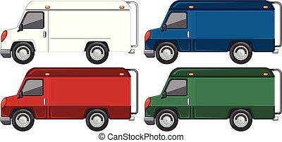 différent, ensemble, camion, couleur