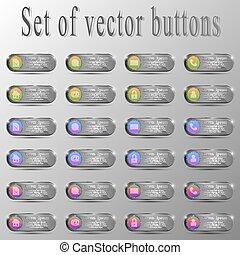 différent, ensemble, caractères, buttons.