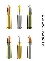 différent, ensemble, cartouches, munitions, fusil