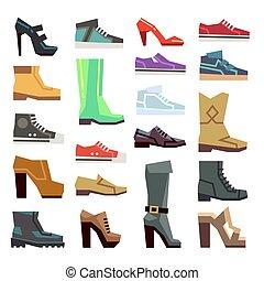 différent, ensemble, chaussures, vecteur, chaussures, désinvolte