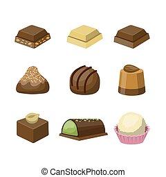 différent, ensemble, chocolat, bonbons, savoureux, délicieux