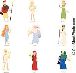 différent, ensemble, coloré, caractère, dieux, grec, ancien