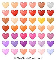 différent, ensemble, coloré, couleurs, hearts., palitra