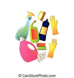 différent, ensemble, coloré, plastique, équipement, nettoyage, maison