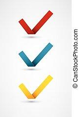 différent, ensemble, coloré, vecteur, neuf, marques, chèque