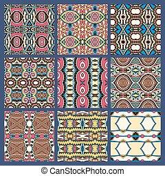 différent, ensemble, coloré, vendange, seamless, modèle, géométrique