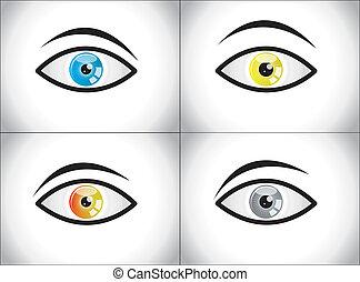 différent, ensemble, coloré, yeux, humain
