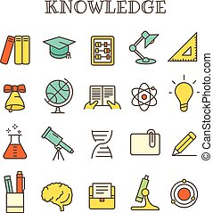 différent, ensemble, connaissance, icônes, couleur, vecteur, ligne mince