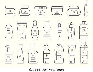différent, ensemble, cosmétique, isolé, arrière-plan., products., blanc