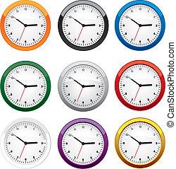 différent, ensemble, couleurs, horloge