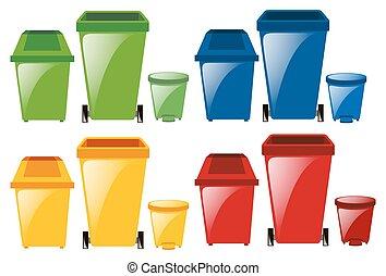 différent, ensemble, couleurs, trashcans