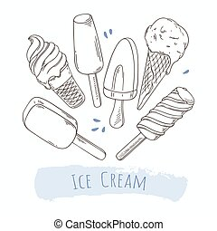 différent, ensemble, cream., griffonnage, illustration, main, glace, dessiné