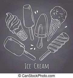 différent, ensemble, cream., nourriture, menu, style, glace, main, craie, conception, tableau, fond, dessiné, café
