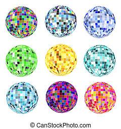 différent, ensemble, disco, couleurs, balles, blanc