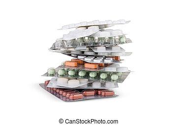 différent, ensemble, empilé, tower., pilules