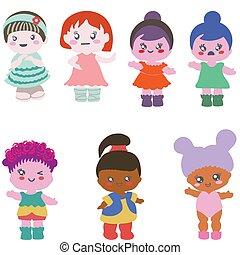 différent, ensemble, equipements, arrière-plan., papier, blanc, poupées