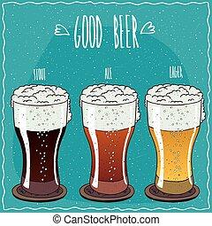 différent, ensemble, fait main, style, bière, dessin animé