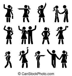 différent, ensemble, figure, bras, crosse, position