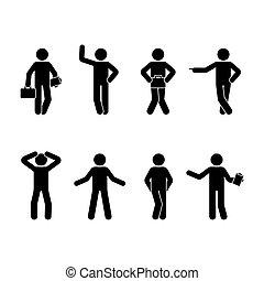différent, ensemble, figure, positions, hommes, crosse