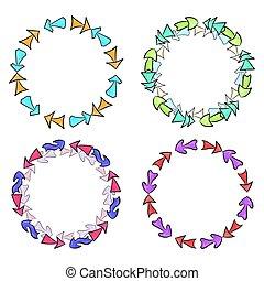 différent, ensemble, flèches, main, cadres, dessiné, multicolore, rond